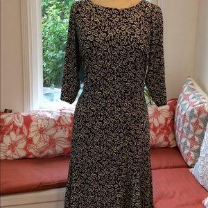 Black White Tea-Leaf Midi Dress Size 14W